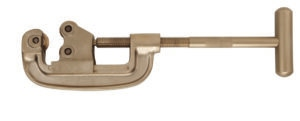 pipe cutter with long t-handle screw  through bottom piece of C-shaped neck. Single wheel cutting blade