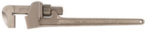 Side view of pipe wrench with open jaw; long handled to the right; cylinder screw on jaw neck